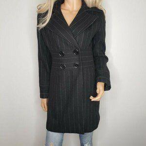 Bebe Pinstripe Wool Double-Breasted Pea Coat